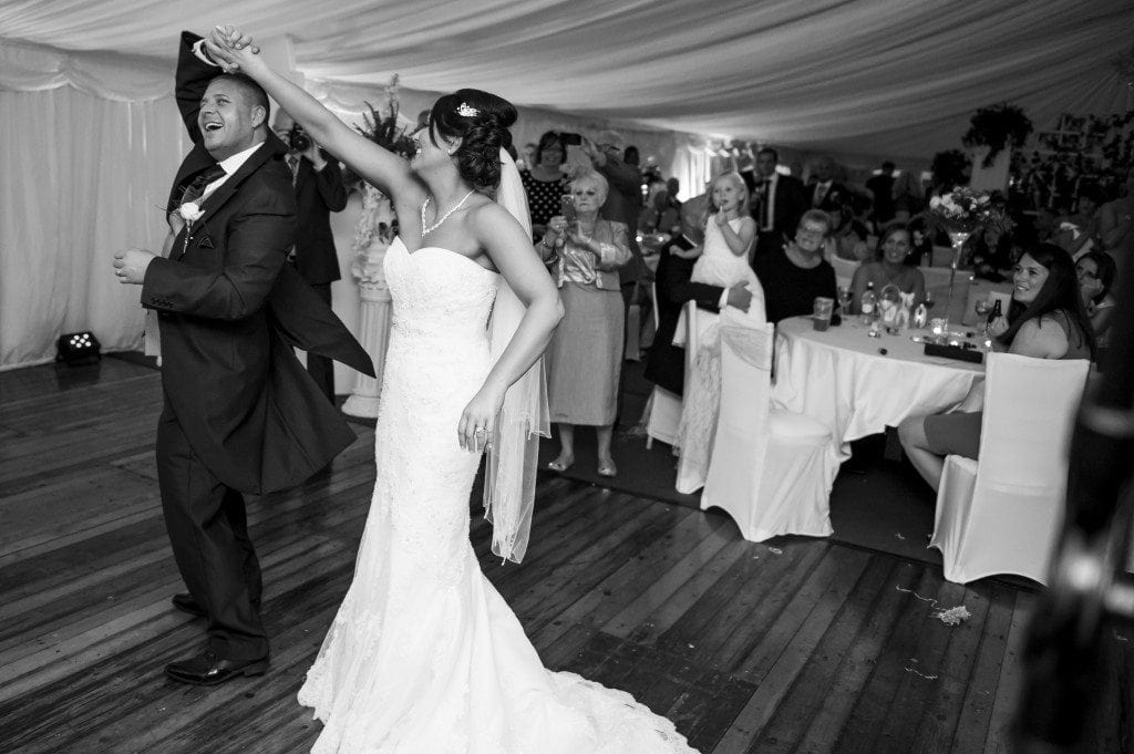 Martin been twirled by vicky on there wedding dance