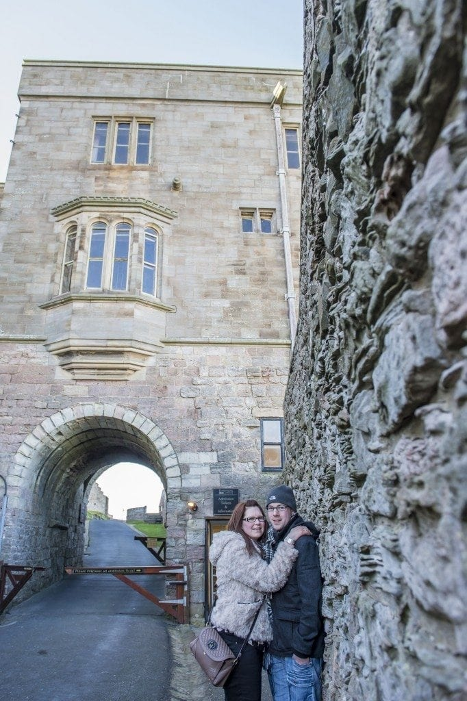 Bamburgh Castle pre wedding shoot with Bev & Chris on the beach in Northumberland with Newcastle wedding Photographer Leighton Bainbridge