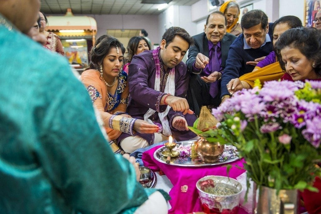 Mata Ki Chownki ceremony photography by Newcastle wedding photographer Leighton Bainbridge. To start the wedding celebrations for Anjali & Rajan at the hindu temple newcastle