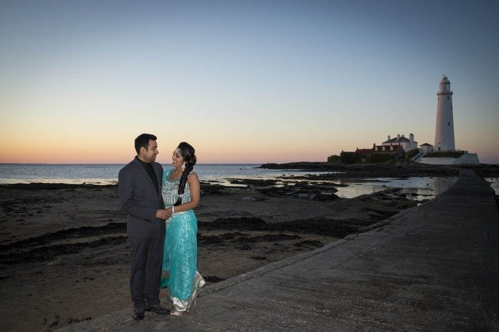 St Mary's Lighthouse whitley bay wedding photography for Anjali & Rajan's Pre wedding photoshoot part 2 with Newcastle wedding photographer Leighton Bainbridge