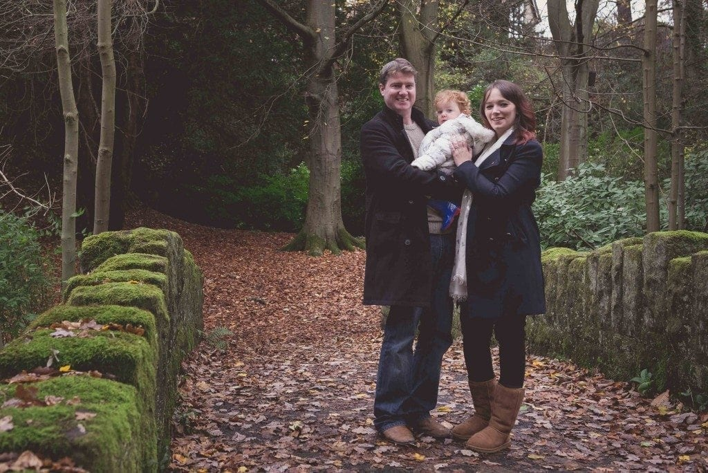a gorgeous pre wedding shoot in Jesmond dene with fay, Andy and the cute little Lily photographed by newcastle wedding photographer Leighton Bainbridge