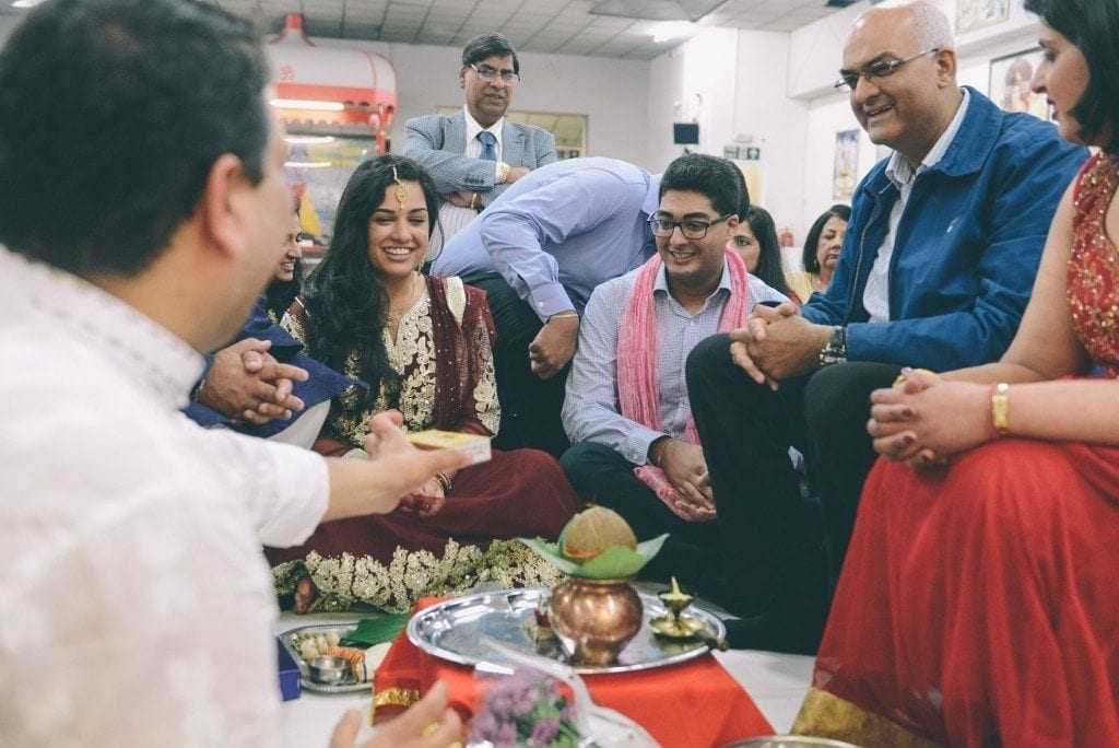 Asian wedding photographer Leighton Bainbridge was photographing at the Hindu temple temple newcastle, for Sai and Rishi's Mata Ki Chowki