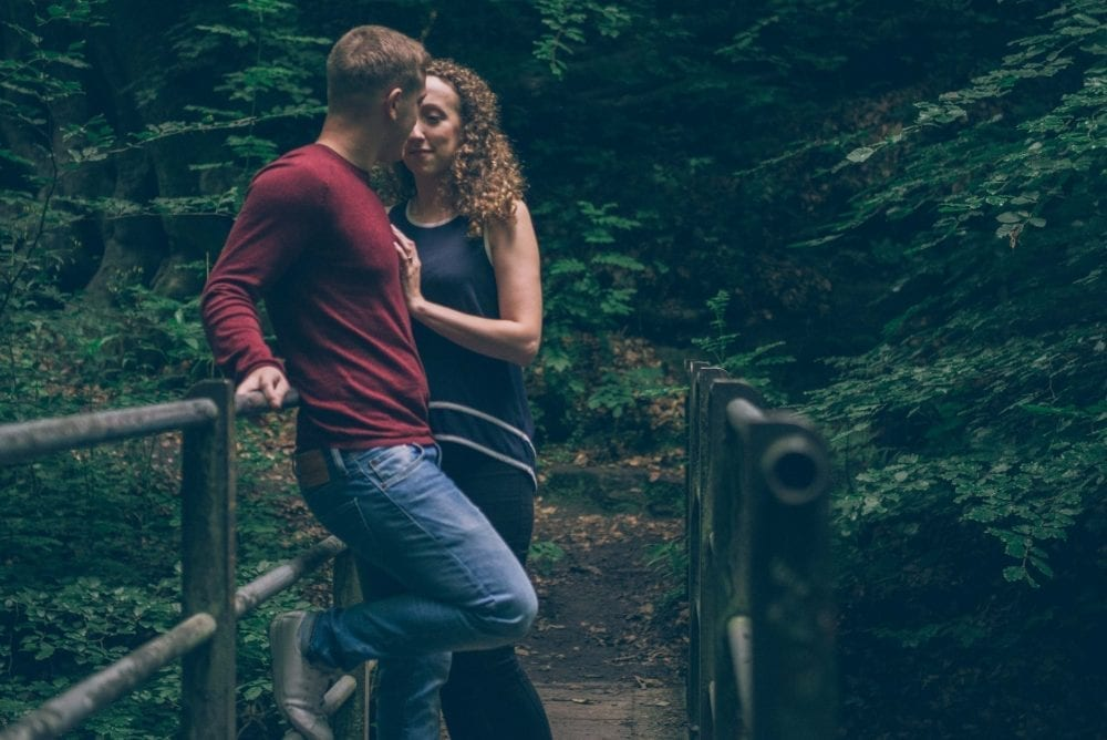 A pre wedding photo shoot in Beamish burn , with the amazing Kirsty & Graham with a setting sun and only a few light leaks but an amazing time