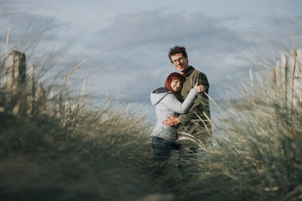 Charlotte & Luke's pre wedding shoot at southshields beach, near the little haven hotel with newcastle wedding photographer Leighton Bainbridge