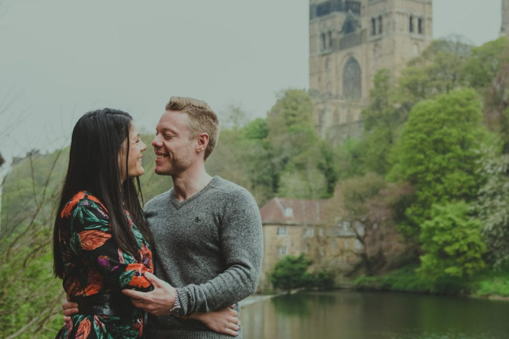 Giorgio & Simona photographing in Durham City for the Pre wedding photography with north east photographer, Leighton Bainbridge