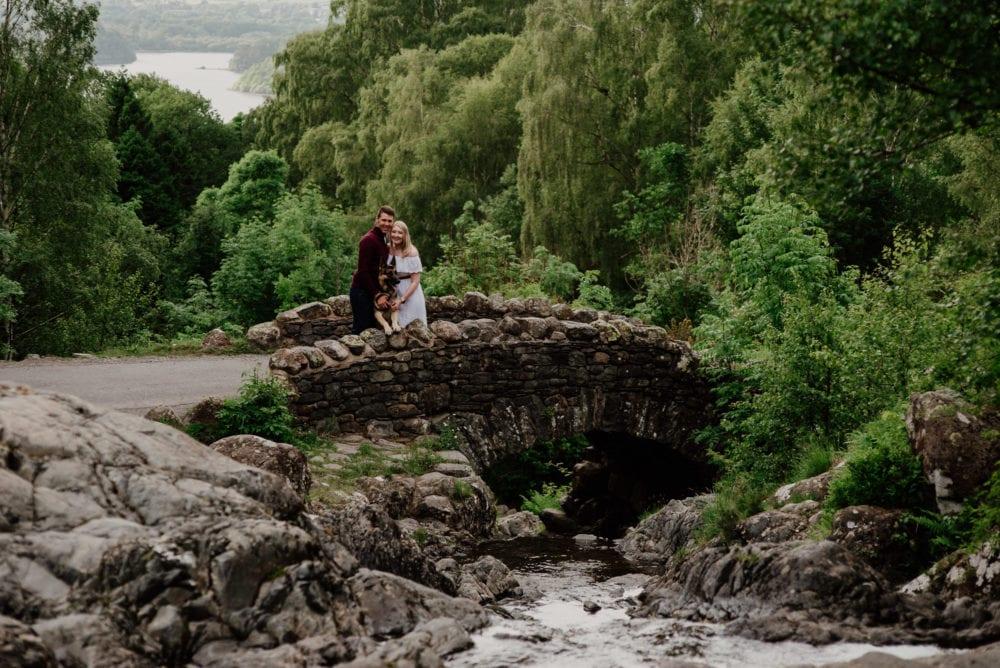 Derwent water pre wedding photography with Jess & jonathan, at ashness bridge keswick.