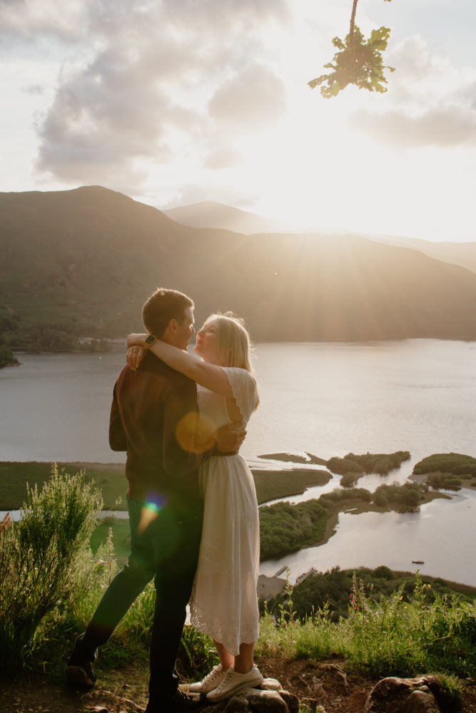 derwent water pre wedding photography at sunset with Jess & Jonathan, with Keswick Wedding photographer